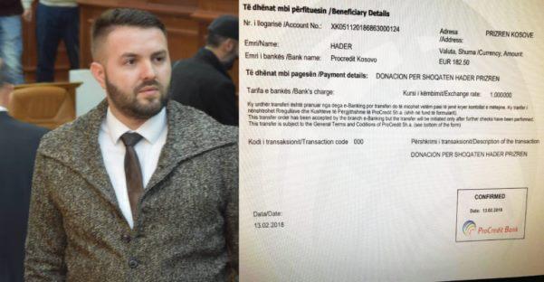 """Petrit Hoxhaj, pagën e kuvendarit ia dhuron Shoqatës """" Hadër"""" në Prizren"""