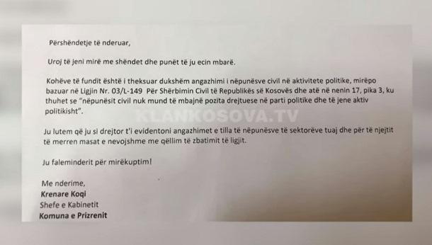 Komuna e Prizrenit kërkon nga stafi civil të mos angazhohen nëpër parti (VIDEO)