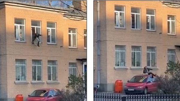 E kishin prangosur për radiatori, i dyshuari kërcen nga kati i dytë i stacionit të policisë ruse – videoja amatore shfaq momentin interesant